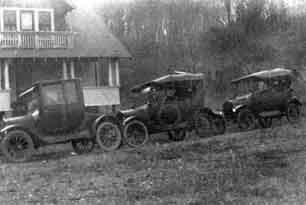 Autos of the Ackerman relatives visiting Wanaque in the 1920's.