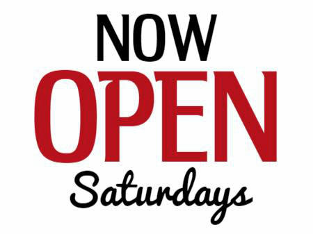 Now open Saturdays from 10 am to 3 pm!